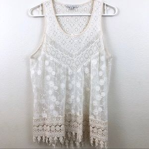 HAUTE MONDE | Antique Ivory Lace Racer Tunic | L